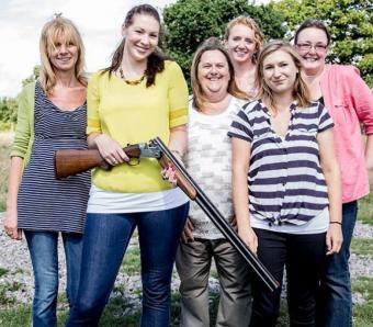 hen team on clay shoot