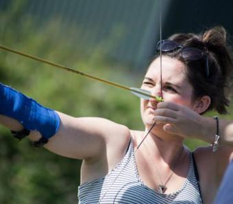 Taking aim down the archery range