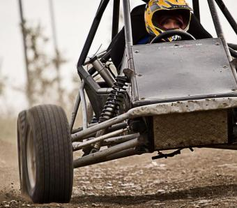 Hen party member putting the rage buggy through it's paces