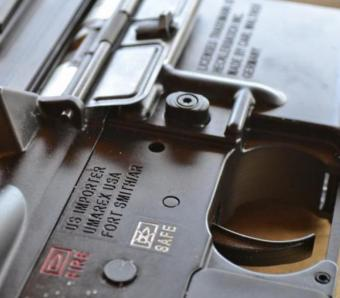 Close up of Heckler & Koch 416 rimfire