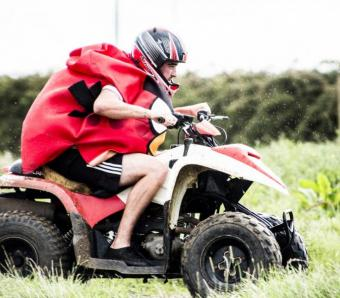 Going for take off on quads - an angry bird on our Bristol quad bike track