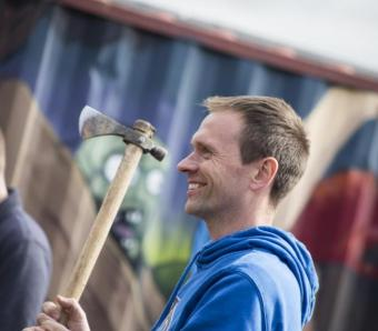 Stag ready to take axe throw challenge in Bristol