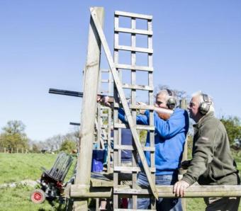 Clay shooting on a clear day