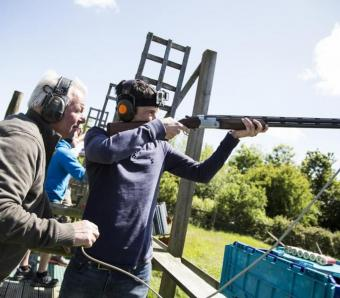 Instructor always there to help on our Bristol Clay Shoot