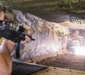Rifle shooting down the range at Max Events Bristol