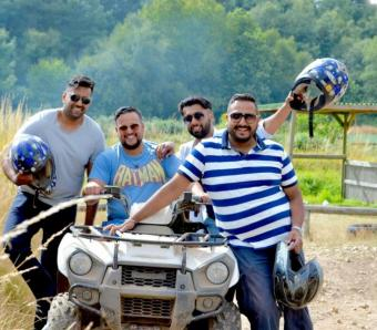 Happy quad biking group