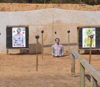 Zombie targets on the crossbow range in Bournemouth
