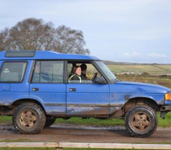 Blind driving instructor ferrying stag party to the off road track