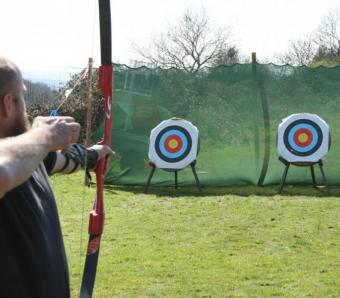 archery just shot arrow and hit the target