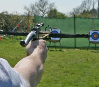 Looking down range with Crossbow pistol