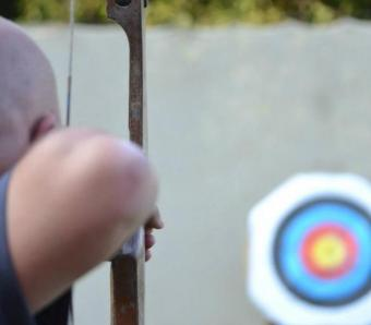 aiming down the archery range