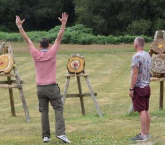 Great throw celebrating the bullseye