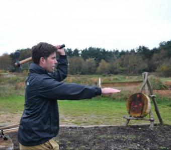 Axe throwing and zombie killing in bournemouth stag do
