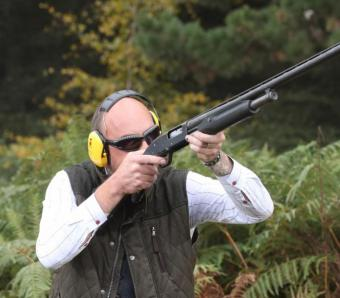 Clay shooting at Max Events with pump action shotgun