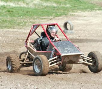 The stags father taking it casually in a rage buggy