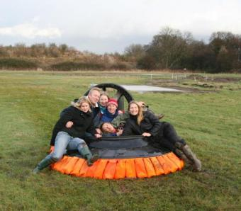 Happy hen party after a go in a hovercraft