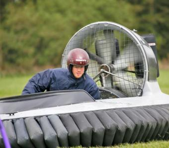 The Stag navigating flexi pole markers on the hovercraft course