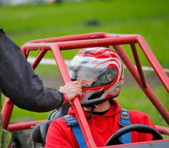 Excited Stag about to have his first driving experience in a Rage Buggy