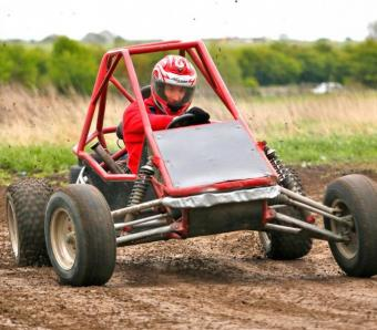 Sliding out round a corner in a Rage Buggy