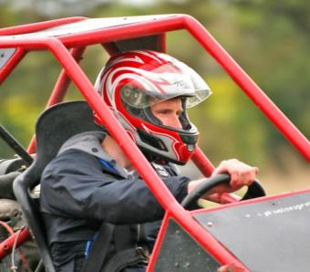 Stag in Rage Buggy concentrating on the track