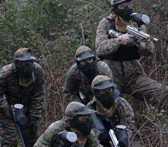 Paintballers preparing for an attack at Max Events in Oxford
