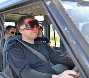 Blind driver behind the wheel at Bournemouth outdoor activity centre